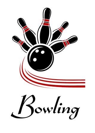 Bowling sports symbol with flying ball and pins, text below Vector