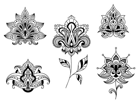 Ornate calligraphic black and white floral motifs of persian paisleys in line format for use as design elements isolated on white Vector