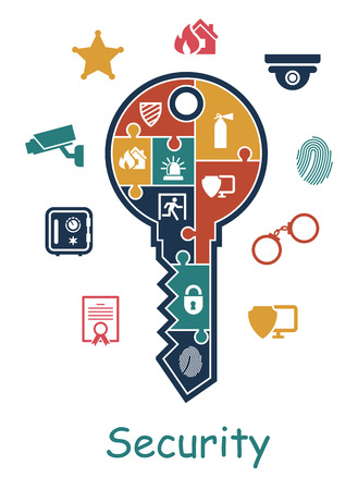 security: Security icon with a key containing puzzle multiple icons depicting a thumbprint, certificate, security camera, police, fire extinguisher, padlock, emergency exit, sheriffs star and online security