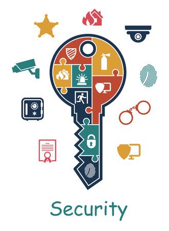 Veiligheid pictogram met een sleutel met daarin puzzel meerdere iconen beeltenis van een duimafdruk, certificaat, bewakingscamera, politie, brandblusser, hangslot, nooduitgang, sheriffs ster en online beveiliging