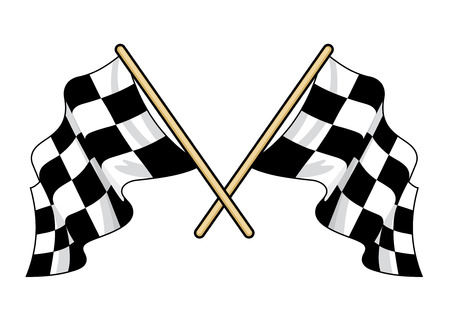 sports race emblem: Crossed waving motor sport flags with the traditional black and white pattern fluttering in the breeze, vector illustration isolated on white Illustration