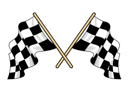 Cruzado con banderas del deporte del motor con el patrón blanco y negro tradicional aleteo en la brisa, la ilustración vectorial aislado en blanco