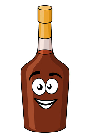 liquors: Cartoon bottle of alcohol or liqueur with a gold seal and brown liquid and a happy smiling face isolated on white