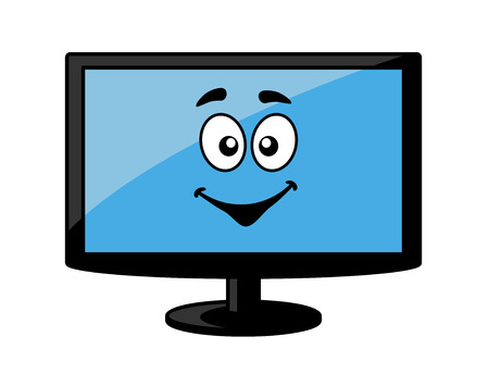 lcd tv: Television screen or computer monitor with a big happy smiling blue face, cartoon illustration isolated on white Illustration