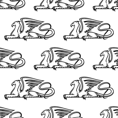 gryphon: Heraldic seamless pattern with medieval gryphon animals Illustration