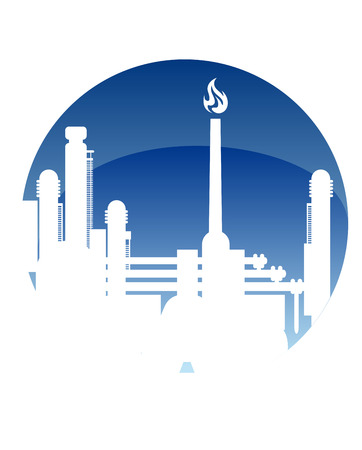petrochemical plant: Industry and fuel refinery icon with a petrochemical plant with a burning flame in a white silhouette in a blue circle conceptual of power and energy Illustration