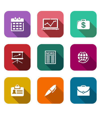 Set of flat business icons on colorful web buttons depicting, a calendar, graph, dollars, briefcase, presentation, laptop, financial newspaper, globe, name tag and pen Vector
