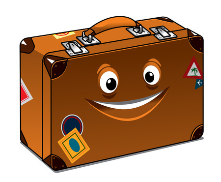Happy retro brown leather suitcase with a big beaming smile and travel labels for previous vacations isolated on white Иллюстрация