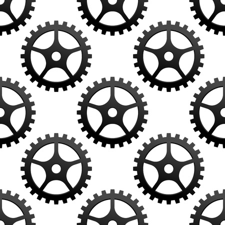 Seamless black and white pattern of toothed industrial gears or cog wheels in square format Vector