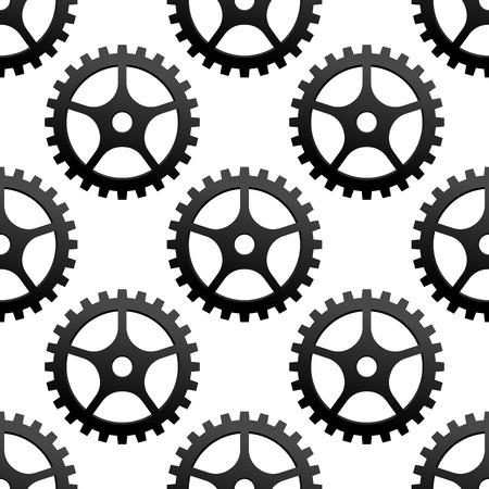 herramientas de mecánica: Seamless patrón blanco y negro de engranajes industriales dentadas o engranajes en formato cuadrado