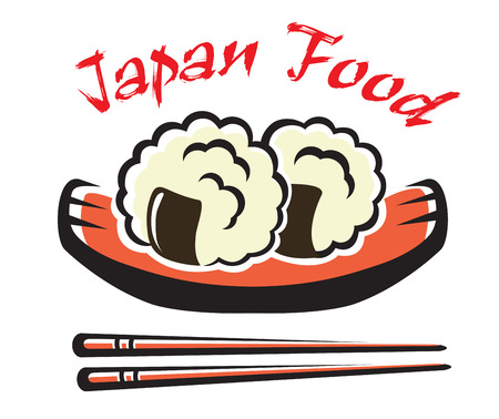 susi: Japanese seafood with sticks for eastern food symbol or emblem design