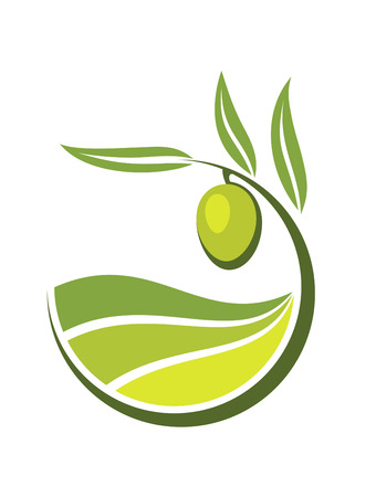 agriculture icon: Fresh curling green cartoon olive with grades and quality of olive oil depicted by levels in shades of green in an organic bio concept