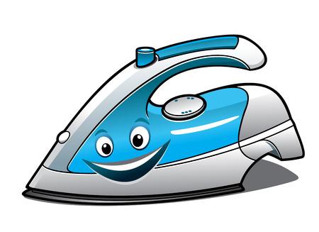 Fröhliche Cartoon Bügeleisen mit einem blauen Wassertank, lächelndes Gesicht und Dampf-Taste isoliert auf weißem