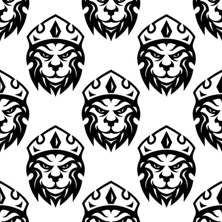 crowned: Seamless black and white pattern of a crowned royal lion or heraldic icon in square format Illustration