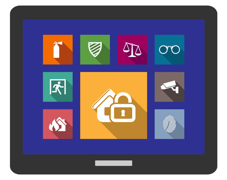 Flat safety and security icons on a tablet screen with a fire extinguisher, shield, scales, glasses, emergency exit, fire alarm, security camera, thumbprint and home padlock