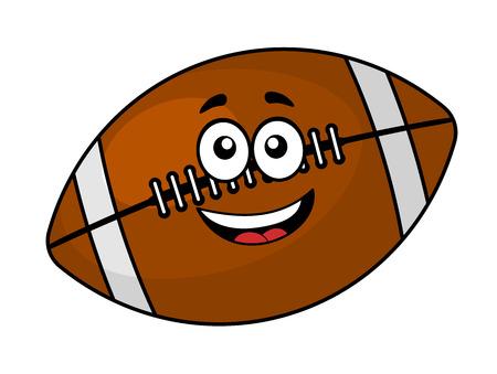 楽しい幸せな茶色の革のフットボールまたはラグビー ボール笑みを浮かべて、かわいい顔、白で隔離される漫画イラスト