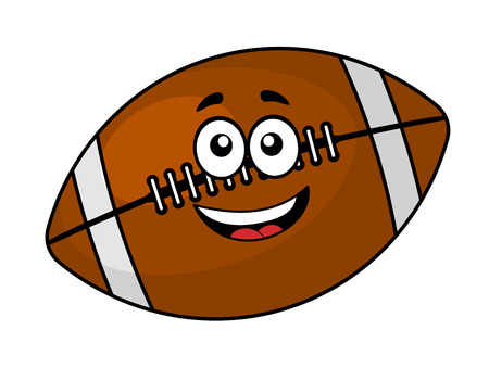 Fun happy brown leather football or rugby ball with a cute smiling face, cartoon illustration isolated on white Ilustração