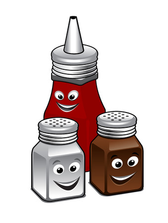 chili sauce: Condiments icon with a salt and pepper set and bottle of tomato ketchup with smiling happy faces , cartoon illustration isolated on white Illustration