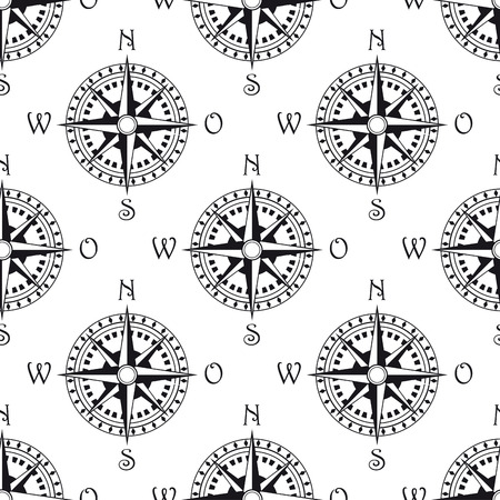 Seamless pattern of a vintage magnetic navigational compass marked with north south, east and west, black and white illustration Vector