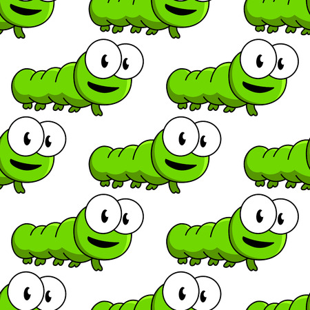 maggot: Seamless pattern of cute cartoon green caterpillars with large googly eyes in square format Illustration