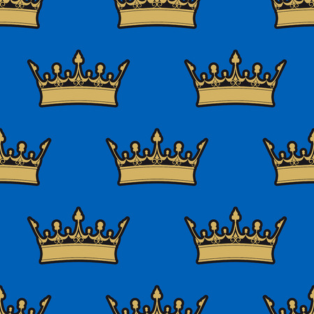 Seamless pattern of gold crowns on a blue background in a heraldic concept Vector