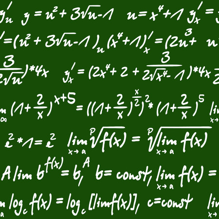 mathematical symbol: Seamless green and white background pattern of mathematical equations handwritten in chalk on a board