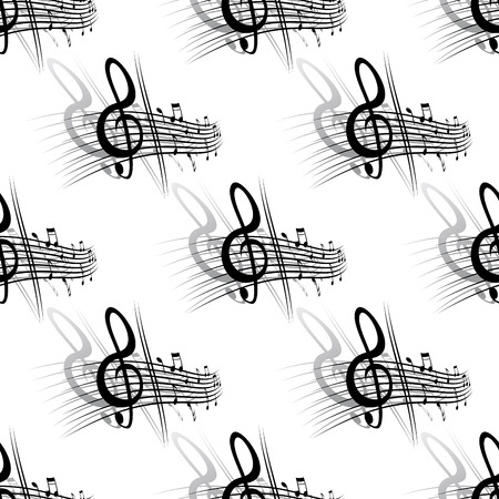 Seamless background music pattern with a section of a score with a clef and notes in a repeat motif Vector