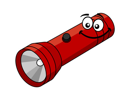 electric torch: Red flashlight in cartoon style isolated on white background