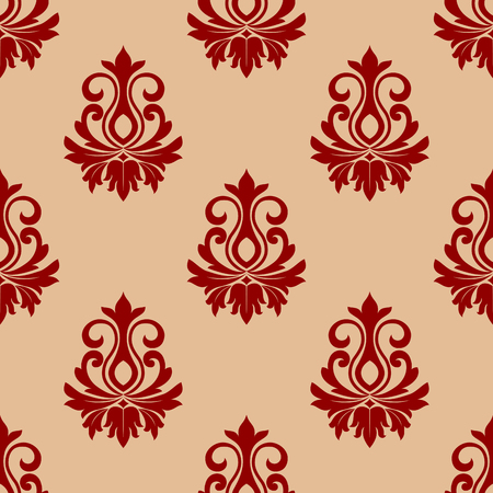 Beige and maroon floral seamless pattern background for wallpaper or fabric design Vector