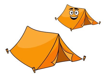 Two colorful orange canvas tents for camping with corner pegs and open flaps, one with a smiling face isolated on white Vector