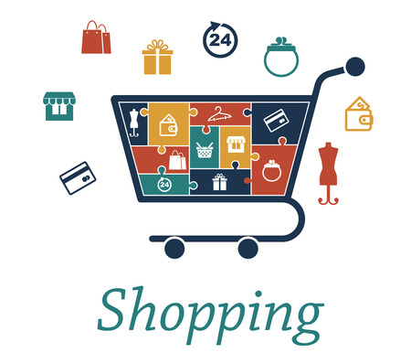 shopping trolley: Shopping concept puzzles with a cart filled with icons depicting a bank card, store, bags, gift, 24 hour, purse, wallet, mannequin, basket and hanger which also surround the trolley for infographic design