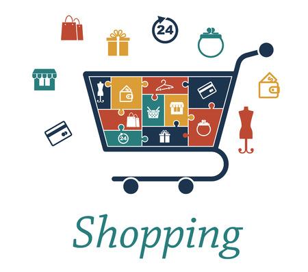 Shopping concetto puzzle con un carrello pieno di icone raffiguranti una carta bancaria, negozio, borse, regalo, 24 ore, borsa, portafoglio, manichino, basket e appendiabiti che circondano anche il carrello di design infografica Archivio Fotografico - 28342567