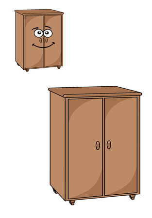 Two rustic wooden cupboards or wardrobes for the bedroom with double closed doors, one plain and the other with a smiling happy face Vector