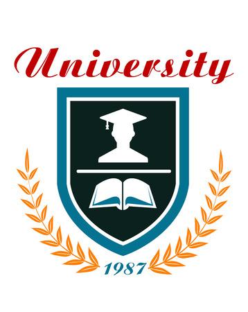 大学のバッジや本と上記のテキスト - 大学 - 卒業生を囲む盾のまわりの月桂樹のリースとエンブレム  イラスト・ベクター素材