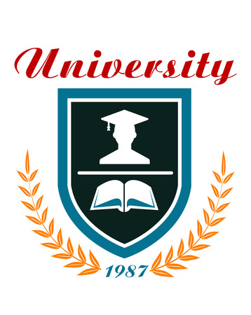 University badge or emblem with a laurel wreath around a shield enclosing a graduate and book and the text - University - above