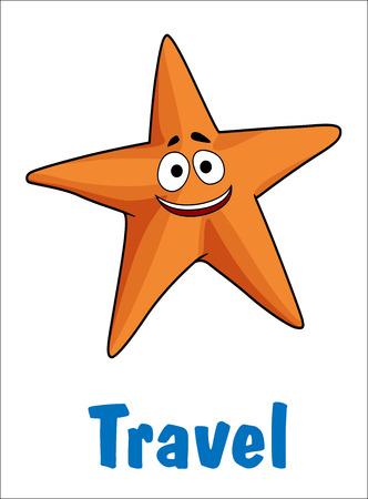 estrella de mar: Cartel del viaje con una estrella de mar de color naranja o de mar feliz de la estrella y el texto - Viajes - abajo en azul, ilustración de dibujos animados aislado en blanco