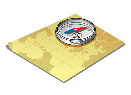 charred: Cute little magnetic compass with a smiling face lying on a map conceptual of travel and exploration design Illustration