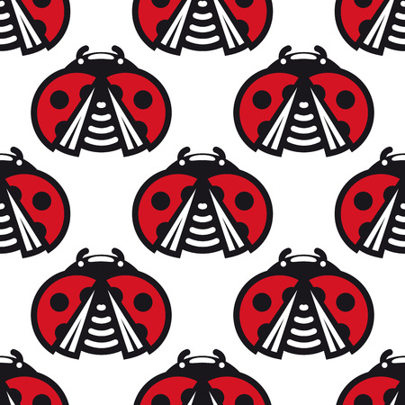 Seamless background pattern of little spotted red ladybugs or ladybirds with opened wings in a repeat motif square format for wallpaper or fabric design Vector