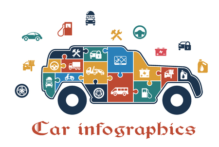 battery icon: Colorful puzzle car infographic with the shape of an SUV filled with icons depicting fuel, tools, wheel, travel, battery, oil, security, sedan, pump and van which also surround the car on the outside