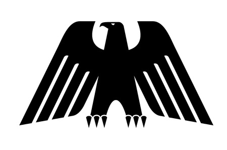 Heraldic black eagle with big wings isolated on white background for power concept or heraldry design Vector
