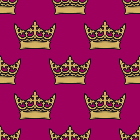 Heraldic seamless pattern with gold royal crowns on purple background Vector