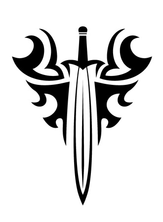Tribal sword and curly elements for tattoo or religious design Vector