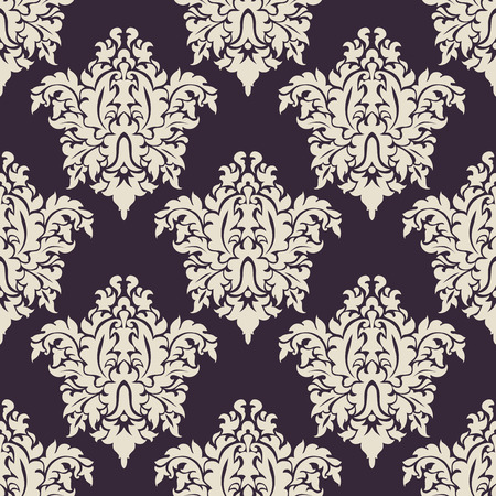 Vintage floral seamless with beige flowers and purple background Vector