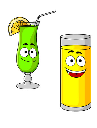 Happy cartoon glasses of fresh fruit juice with a tall glass of orange juice with a smiley face and an elegant glass of green cocktail with lemon Vector