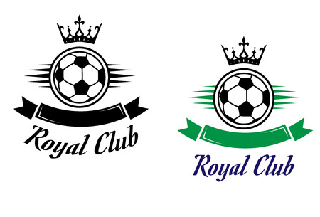 club soccer: Royal football or soccer club symbol with ball, crown and ribbons for sports design
