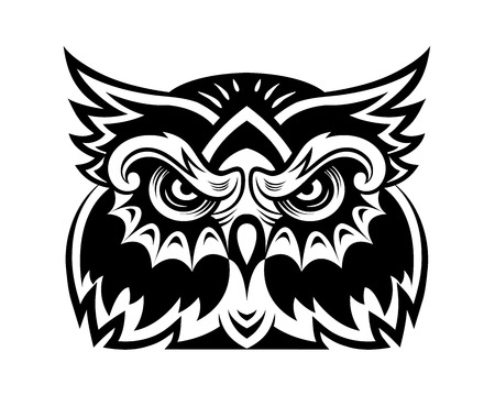 Black owl bird head for mascot or tattoo design Vector