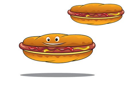 crusty: Two hotdogs on crusty rolls seasoned with mustard and ketchup on a grilled sausage, one with a happy face and the other without, fast food or junk food concept design