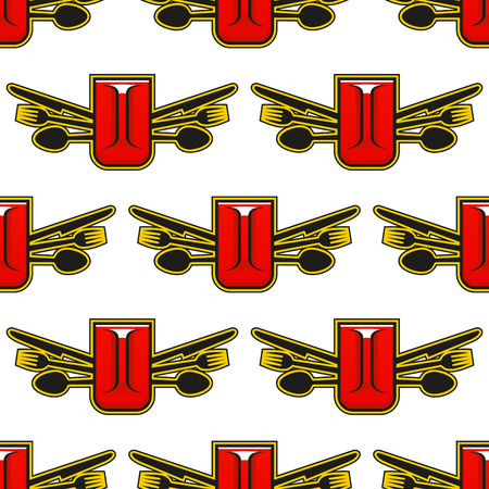 tankard: Catering or restaurant seamless pattern with a tankard of beer or mug of coffee flanked by knives, forks and spoons in a repeat motif in square format