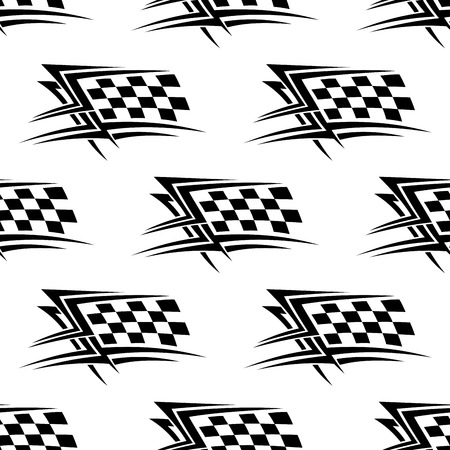 Black and white checkered flag used in motor sports in a repeat motif seamless pattern in square format Illustration