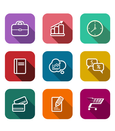 Set of colorful flat business web icons depicting a briefcase, bank card, graph, tablet, clock, sales, dollars, percent, trolley, cart and cloud computing Vector